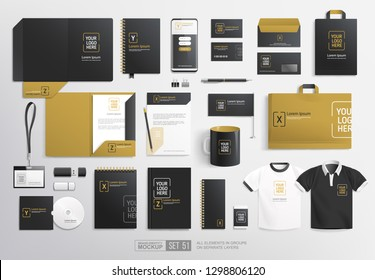 Pealistic  Black and Gold Branding Stationary items and objects Mockup. Minimalistic Corporate Brand Identity design on stationery elements, A4 letterhead blank folder, mug,paper bag. Vector template
