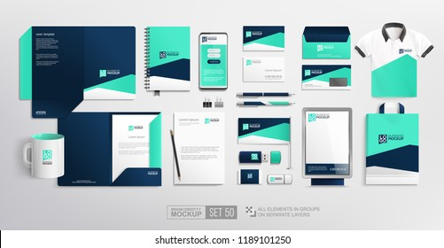 Pealistic Branding Stationary items and objects Mockup. Fresh blue colour abstract minimalistic Corporate Brand Identity design on stationery elements, folder, mug, t-shirt, bag. Vector template