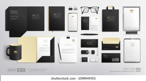 Pealistic Business Branding mock-up of city lightbox, folder, blank, phone, tablet. Corporate Identity Brand Mockup set on white background