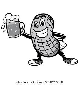 Peanut and Beer Illustration - A vector cartoon illustration of a Peanut mascot with a beer.