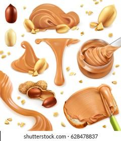 Peanut butter. 3d vector icon set