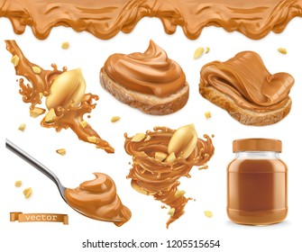Peanut butter. 3d vector realistic icon set
