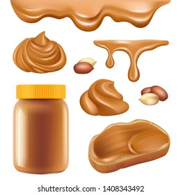 Peanut butter. Healthy dessert chocolate protein oily cream for sandwich spread caramel food vector realistic pictures. Dessert sweet chocolate, snack 3d chocolate butter swirl illustration