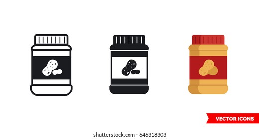 Peanut butter icon of 3 types: color, black and white, outline. Isolated vector sign symbol.