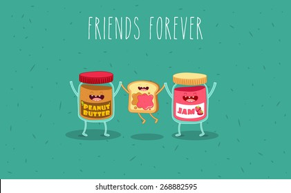 Peanut butter and jam jar. Vector cartoon. Friends forever. Comic characters.