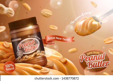 Peanut butter spread ads with spoonful of delicious in 3d illustration