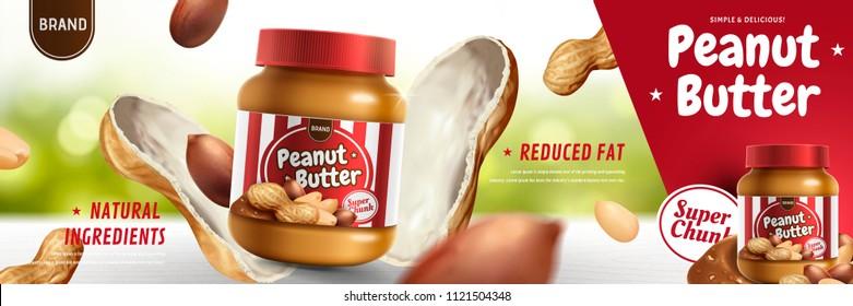 Peanut butter spread appeared from nut pod in 3d illustration, bokeh background