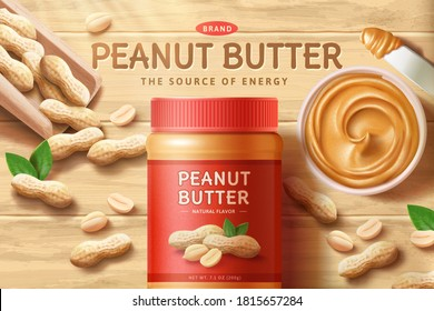 Peanut butter spread with bowl ads, butter knife and nut pods in 3d illustration over wooden table