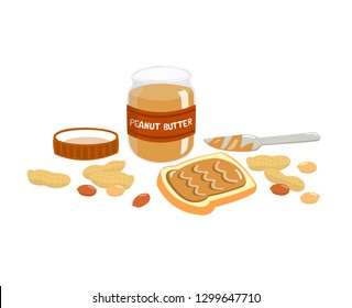 Peanut butter spread on bread with butter knife. Peanut butter, peanut nut and bread isolated on white background.