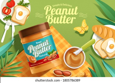 Peanut butter spread product on a picnic background in 3d illustration