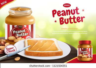 Peanut butter spread with toast and butter knife in 3d illustration, bokeh background