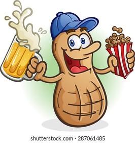 Peanut Cartoon Character Sports Fan Drinking Beer