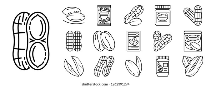 Peanut icon set. Outline set of peanut vector icons for web design isolated on white background