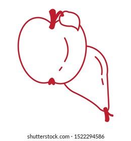 pear and apple autumn fruits seasonal icons vector illustration design