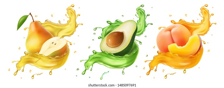 Pear, avocado. peach Fresh fruits and splashes, 3d realistic vector icon set