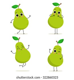 Pear. Cute fruit vector character set isolated on white