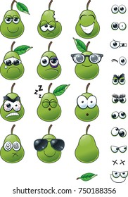 Pear Emoticon Set A set of cartoon emoticons with varying expressions for you to use