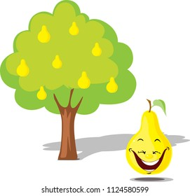 Pear falling from tree -  flat design illustration