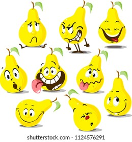 Pear flat design cute cartoon flat design  illustration character with funny face and many emotion