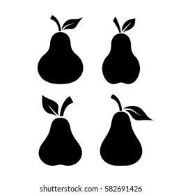 Pear fruit black shape vector icon on white background. Pears vector set.