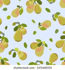 Pear fruit over skyblue background seamless vector illustration