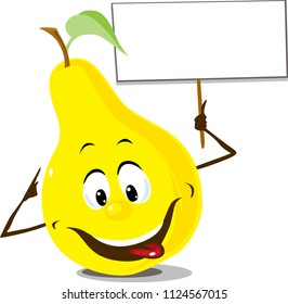 Pear fruit with sign board hold in hand - flat design vector illustration