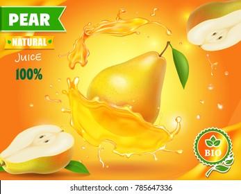 Pear juice advertising with juice splash realistic vector illustration