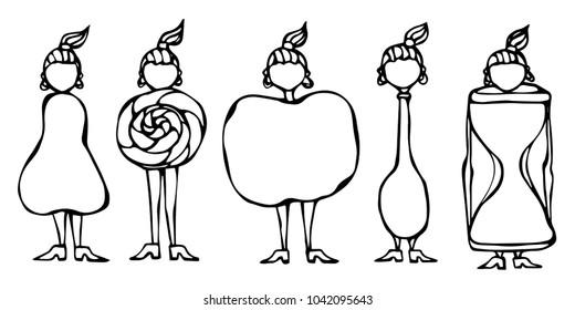 Pear, Lollipop, Apple, Spoon, Hourglass Women Body Type Figure Shape Sketch. Hand Drawn Vector Illustration. Caricature. Savoyar Doodle Style.