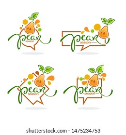 pear season, doodle logo, label, emblem with simple fruit image and lettering composition