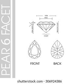 Pear shape 6 facet