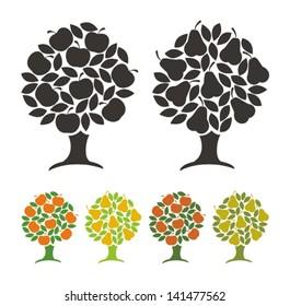 Pear tree and apple tree. Vector illustration.