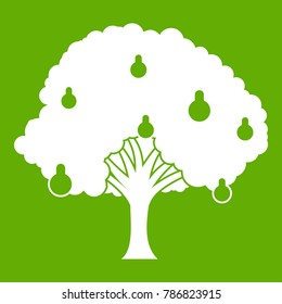 Pear tree with pears icon white isolated on green background. Vector illustration