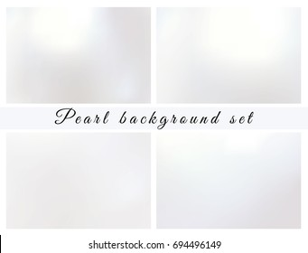 Pearl background set. Shiny wallpaper. Card template. Light paper. White texture. Made with mesh gradient without clipping mask. Vector illustration .