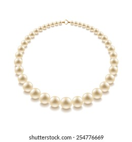 Pearl bead isolated on white photo-realistic vector illustration