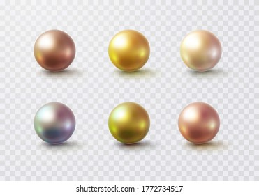 Pearl glossy beads isolated on transparent background. Gold, golden rose, white perl balls. Vector 3d metal sphere, shiny capsules