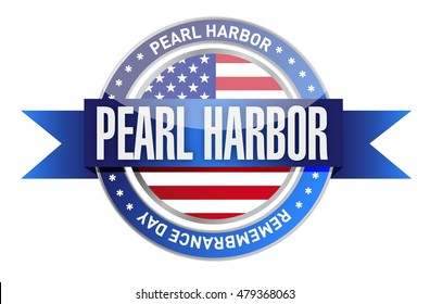pearl harbor remembrance day seal stamp illustration design graphic