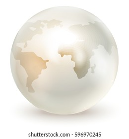 A pearl imitating a globe, isolated on a white background. Vector illustration