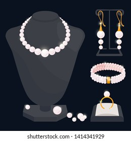Pearl jewerly vector collection - necklace, earrings, ring and bracelet. Jewelry necklace, ring and earrings, bracelet from pearls illustration