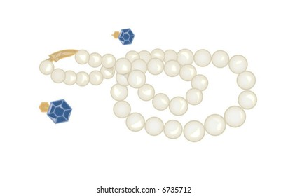Pearl Necklace and Blue Earrings Vector