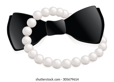 Pearl necklace and bow tie, a his and hers formal event icon.