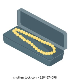 Pearl necklace icon in isometric vector