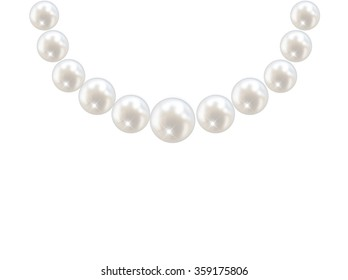 Pearl necklace isolated illustration vector
