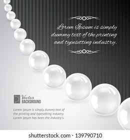 Pearl necklace on black. Vector illustration, contains transparencies, gradients and effects.