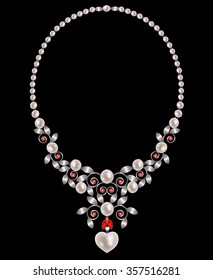 Pearl necklace with silver leaves and rubies