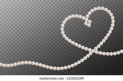Pearl necklace. Thread of pearls. Shiny oyster pearls for luxury accessories. Realistic white pearls isolated on background. Beautiful natural heart shaped jewelry. Chains of pearls forming an ornament