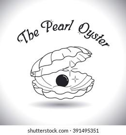 Pearl oysters symbol. Vector line icon. Art logo design.