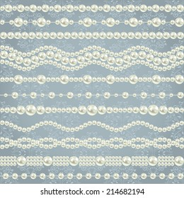 pearl realistic borders set collection isolated on grey blue floral damask seamless pattern background. vector illustration