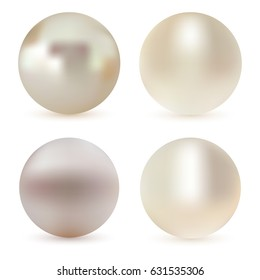 Pearl realistic set isolated on white background. Spherical beautiful 3D orb with transparent glares and highlights for decoration. Sphere shiny sea pearl.