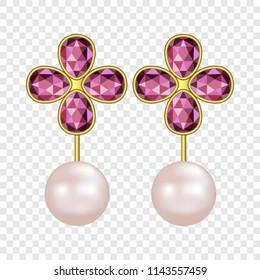 Pearl ruby earrings mockup. Realistic illustration of pearl ruby earrings vector mockup for on transparent background