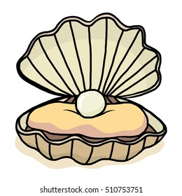 pearl shell / cartoon vector and illustration, hand drawn style, isolated on white background.